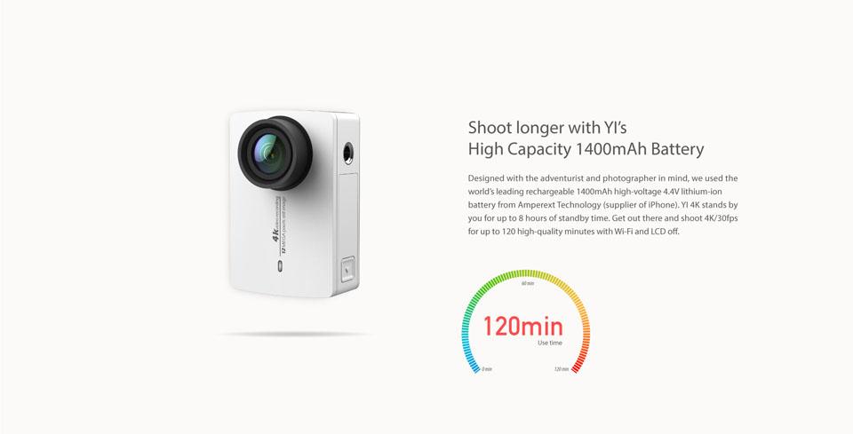 Битва экшн-камер Xiaomi Yi 4K Action Camera против GoPro Hero 4 – Автономность Xiaomi Yi 4K