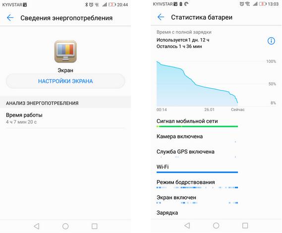 Huawei P8 Lite 2017-5 Скриншот Автономная работа