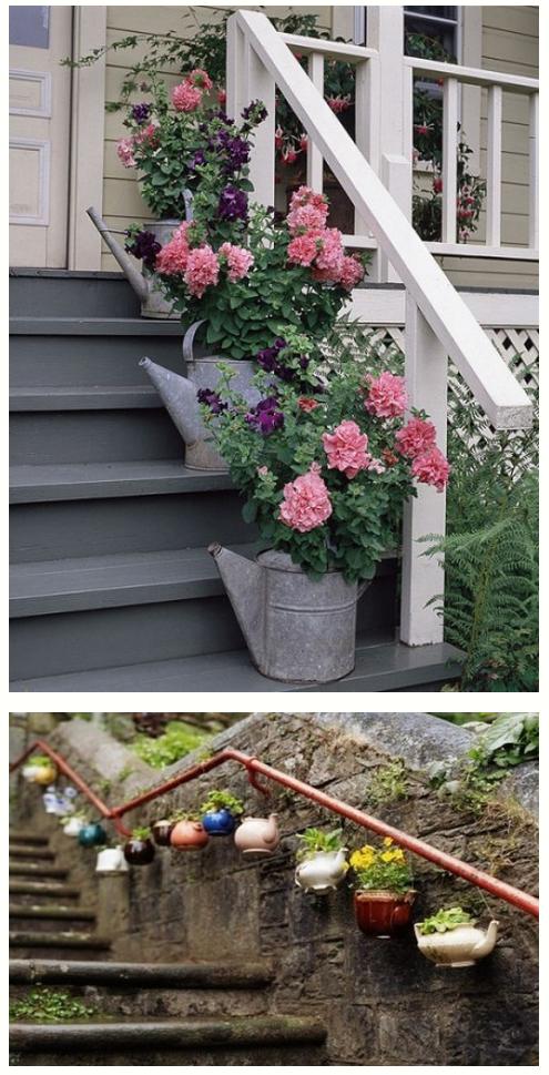 Оригинальные решения для сада-применение лейки и заварников