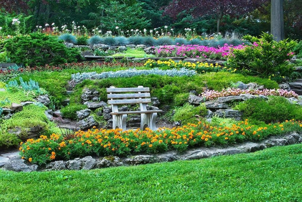 Бордюрная посадка цветов-большой сад