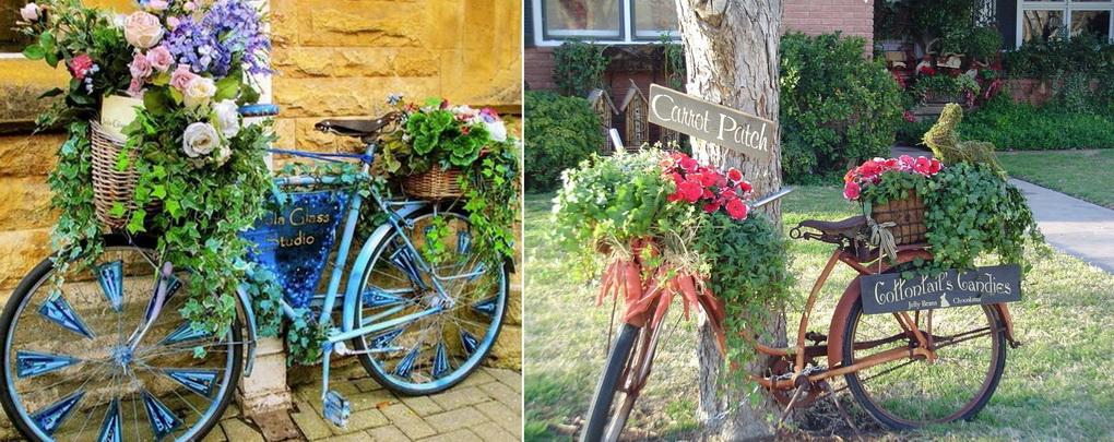 Как украсить сад цветами-велосипед