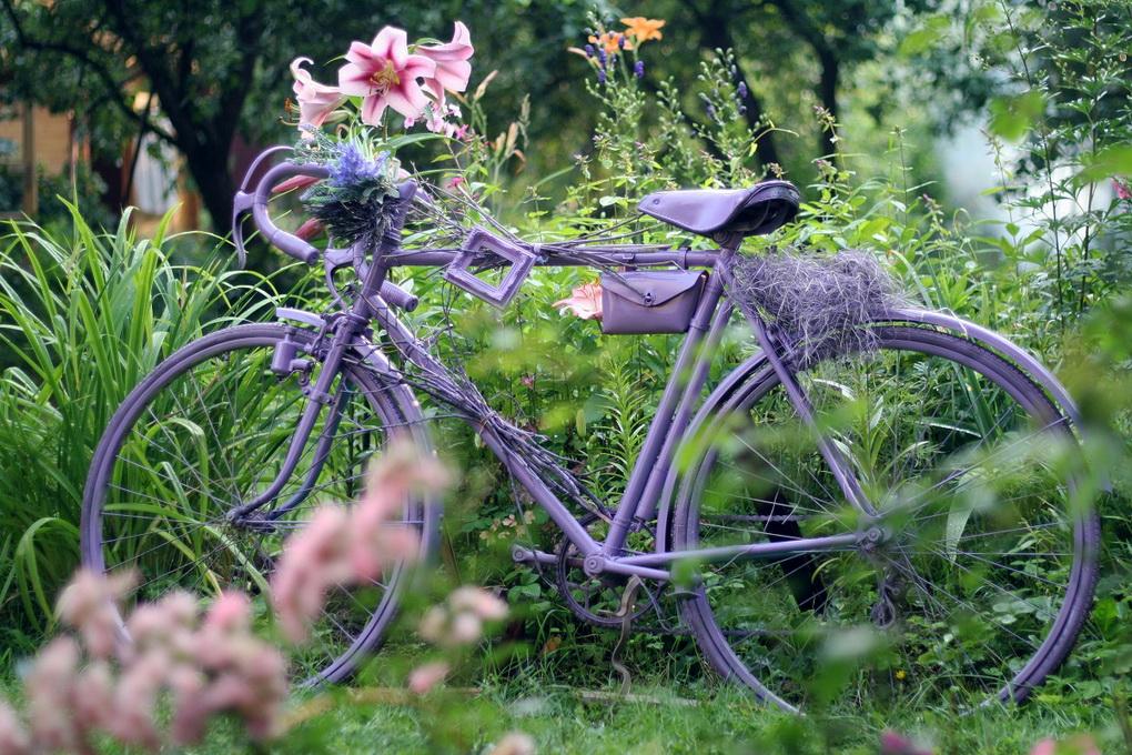 Старый велосипед-декор сада фото 1