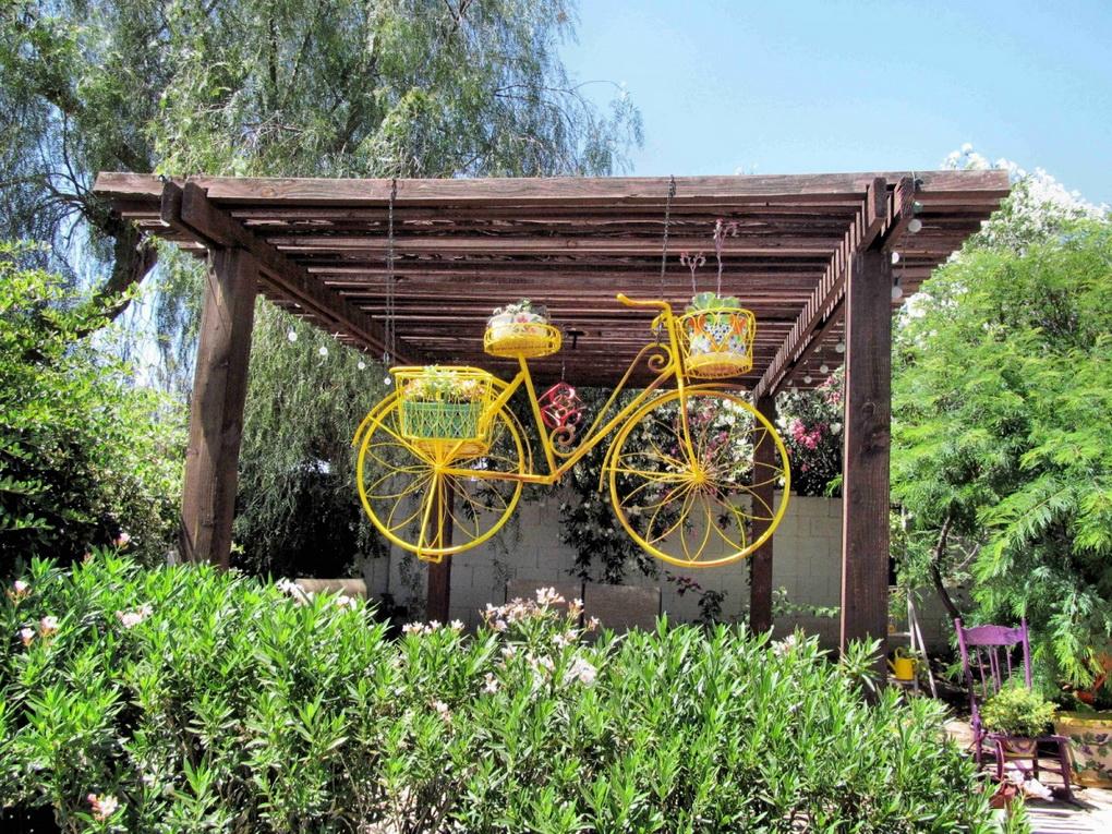 Применение старого велосипеда в саду-идеи