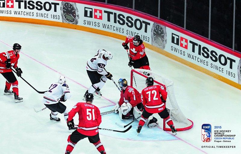История часового бренда Tissot сделано в Швейцарии – Реклама на хоккейном турнире