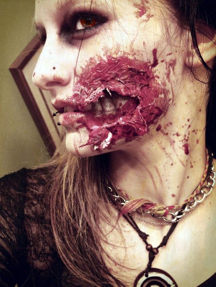 Идеи для Хэллоуина-макияж разорванная рана