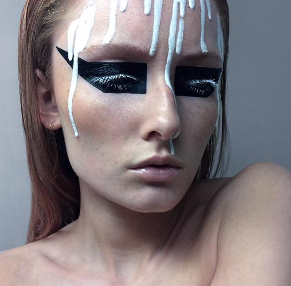 Halloween-макияж белые ресницы