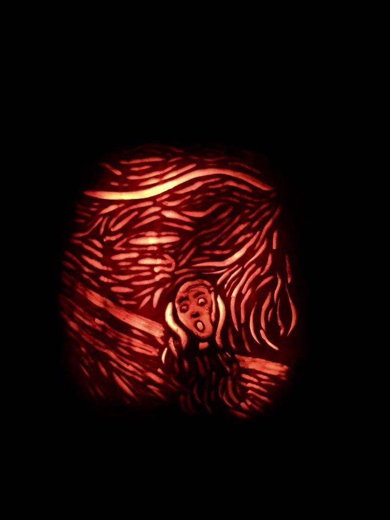 Репродукция на тыкве Крика-подготовка к Хэллоуину