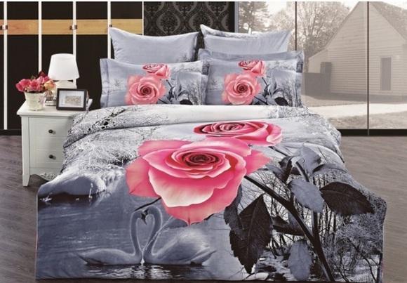 Незаменимый подарок маме на 8 марта – Комплект постельного белья Arya сатин с принтом 3D 1,5 Сп Snowy Sawan