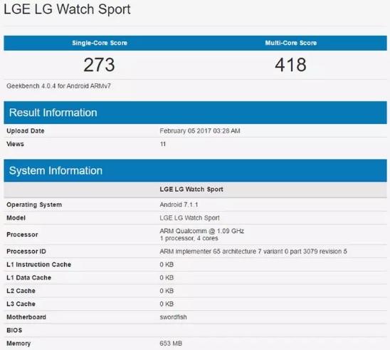 Смарт-часы LG Watch Sport засветились в бенчмарке Geekbench