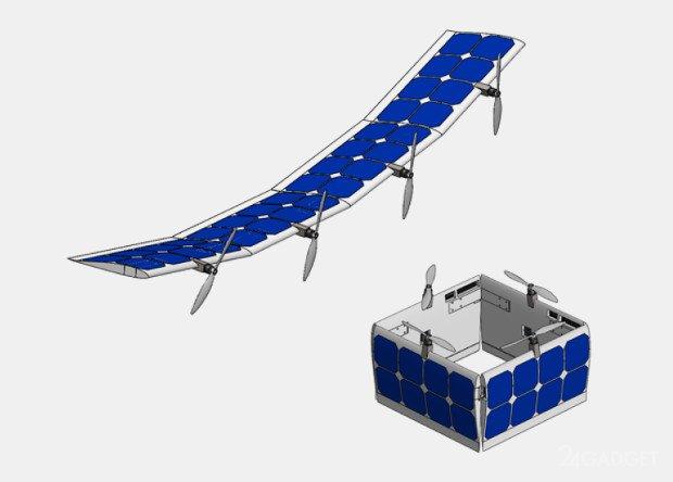 Беспилотный летательный аппарат с изменяемой геометрией крыла