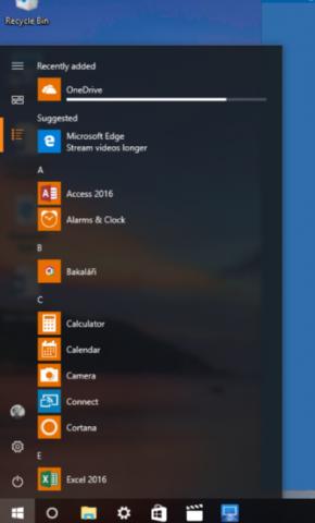 "Windows 10 shows Microsoft is Edge in ""start menu"""