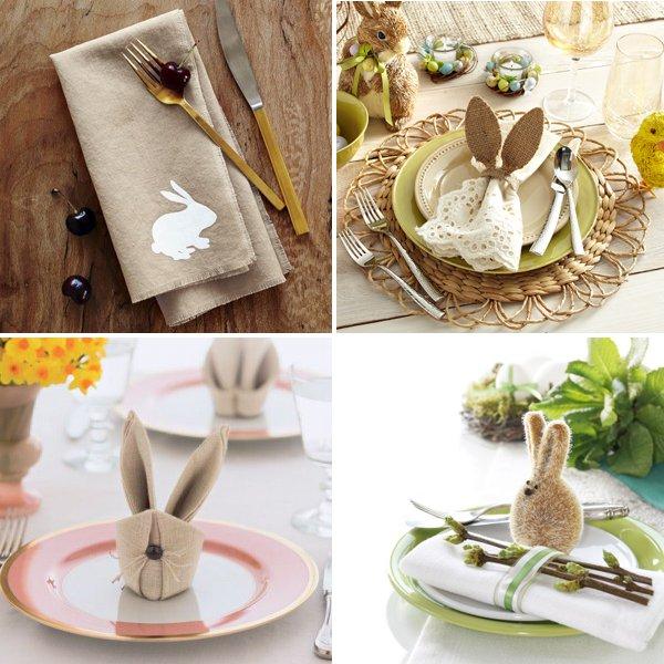 Сервировка пасхального стола-кролики из салфеток