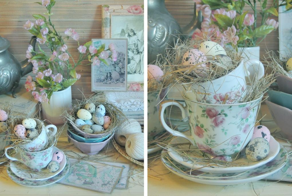 Пасхальный декор с перепелиными яйцами-фото