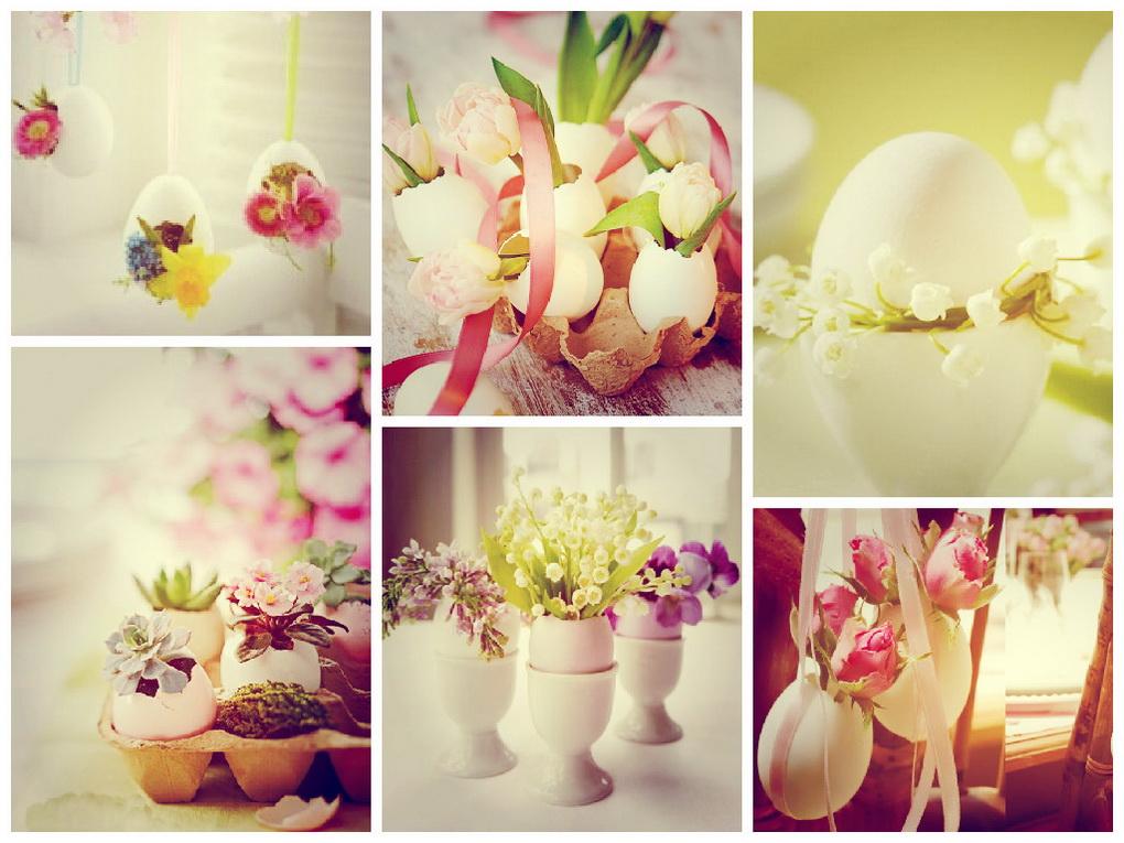 Живые цветы в яичной скорлупе-коллаж