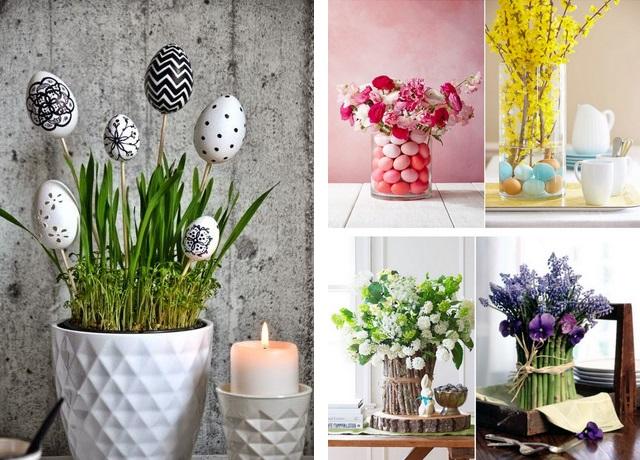 Пасхальные композиции с зеленью и яйцами-фото