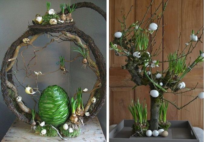 Оригинальное пасхальное дерево с зеленью-фото