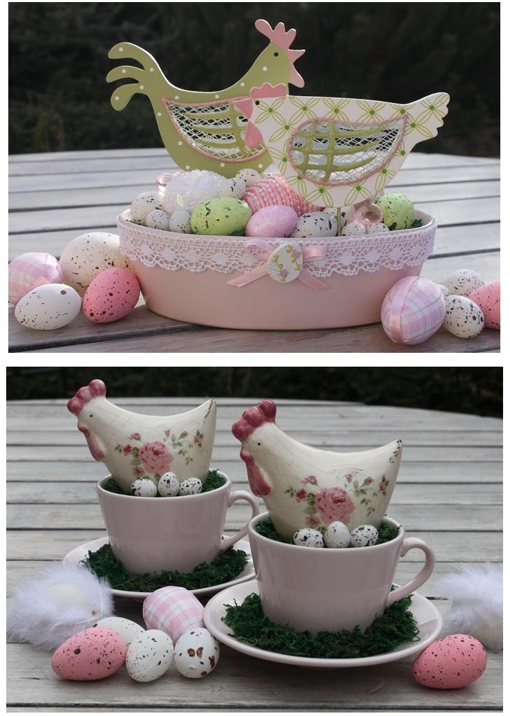 Пасхальная корзинка-вазы с яйцами и цветами