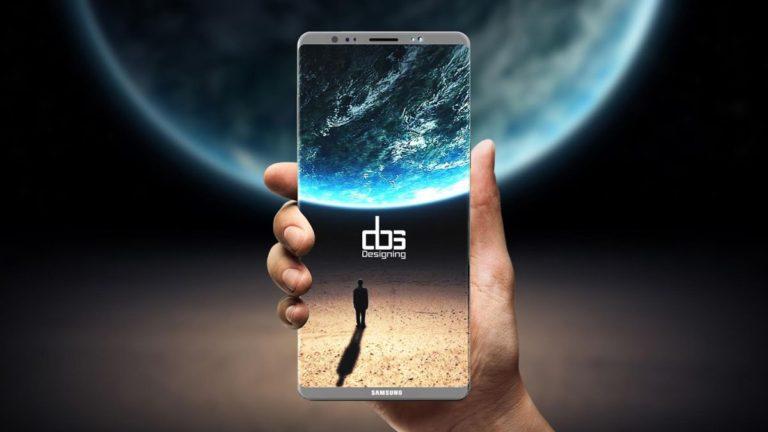 Render Samsung Galaxy Note 8: spacecraft design, thin frame and four cameras