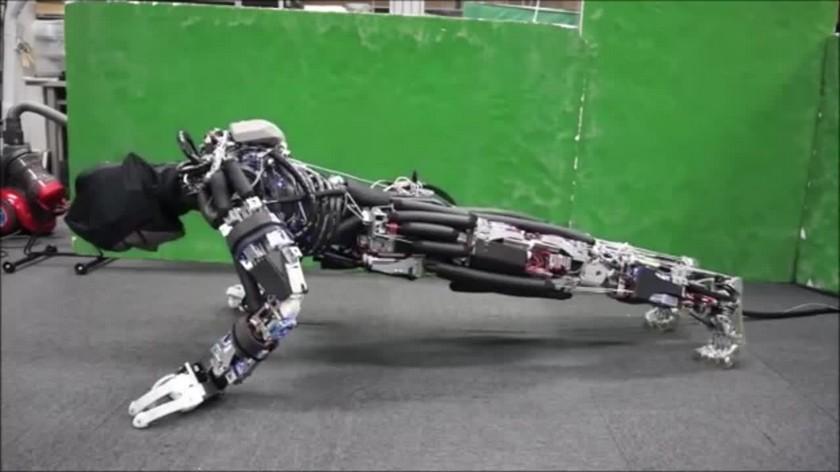"Japanese robot ""sweats"" when push-UPS"