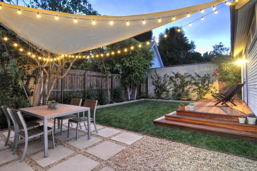 Гирлянда в саду-праздничное освещение фото 4