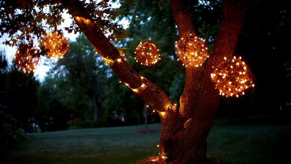 Подсветка в саду-идеи