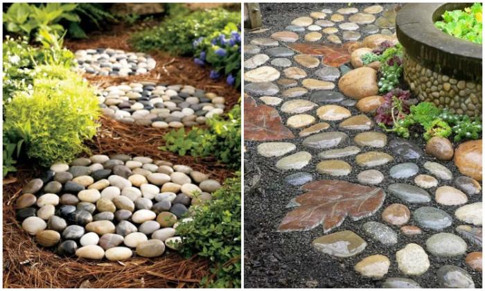 Дорожки и декор из камней-коллаж