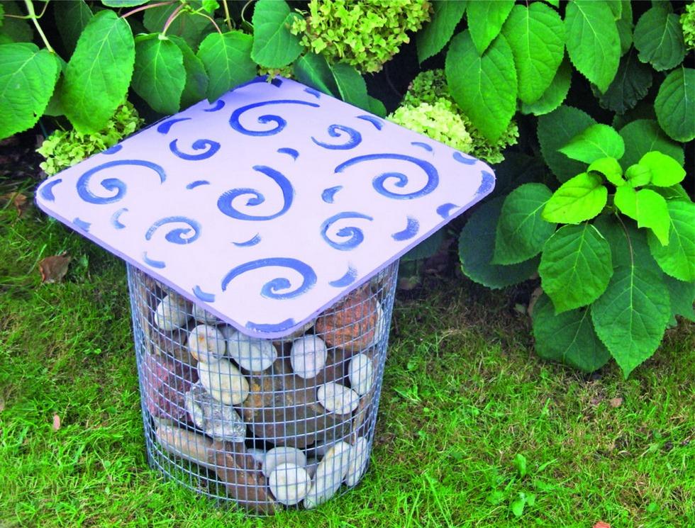 Садовый пуфик-габион-фото 2 1