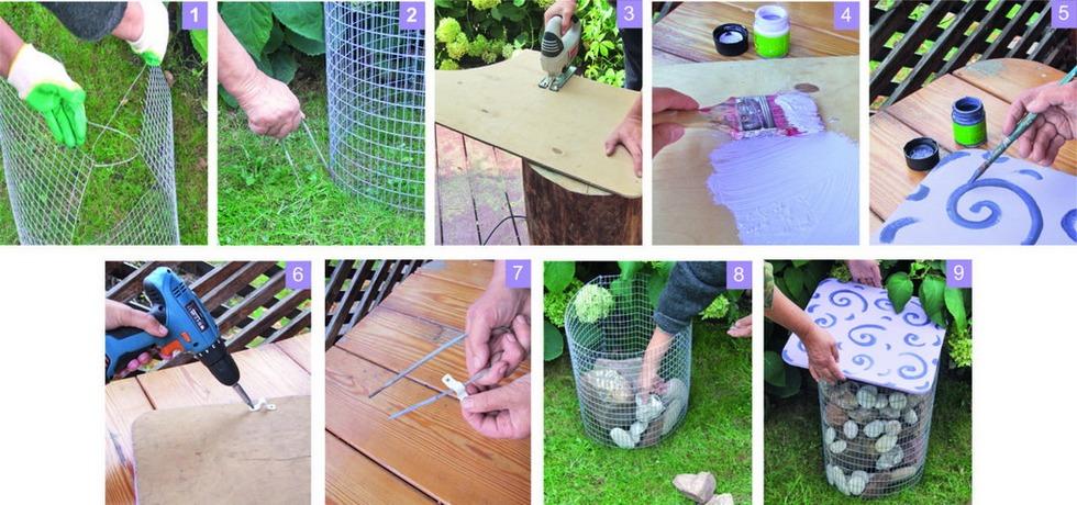 Садовый пуфик-габион-как сделать