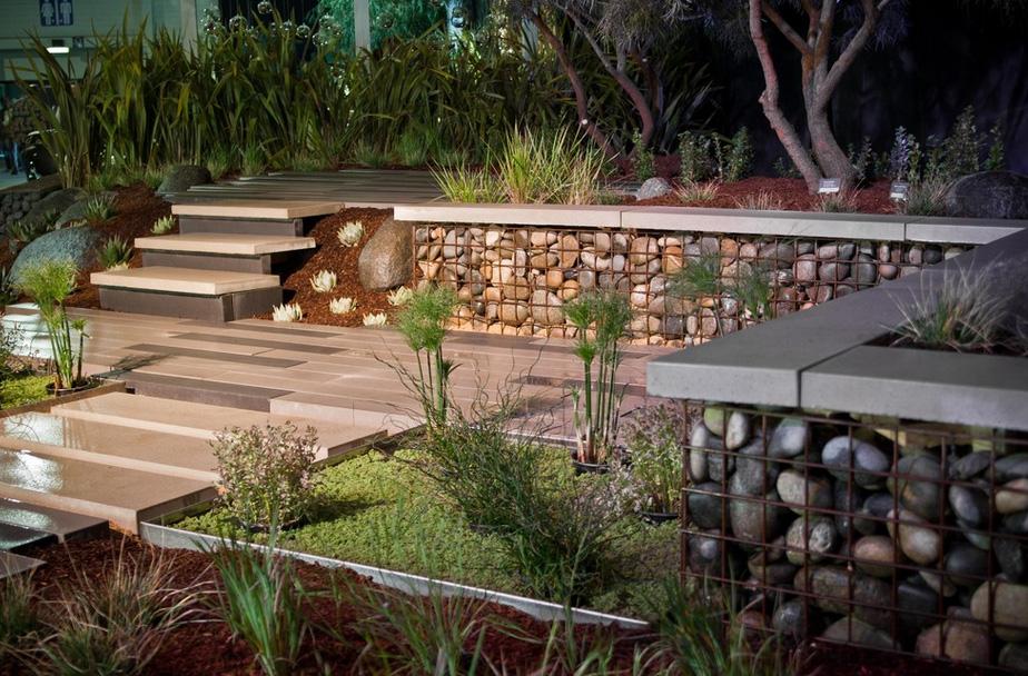 Современный сад-габионы фото 5