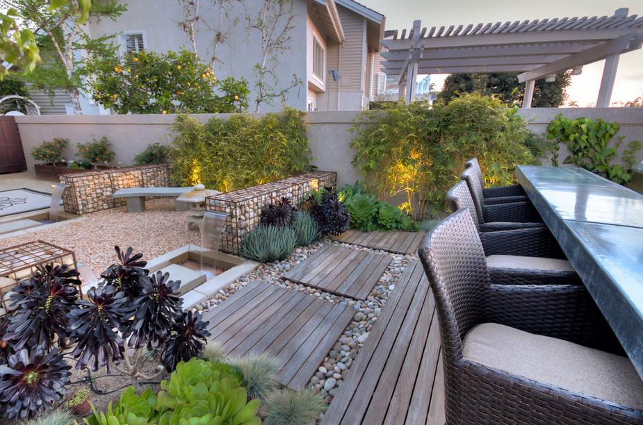 Современный сад-габионы фото 6
