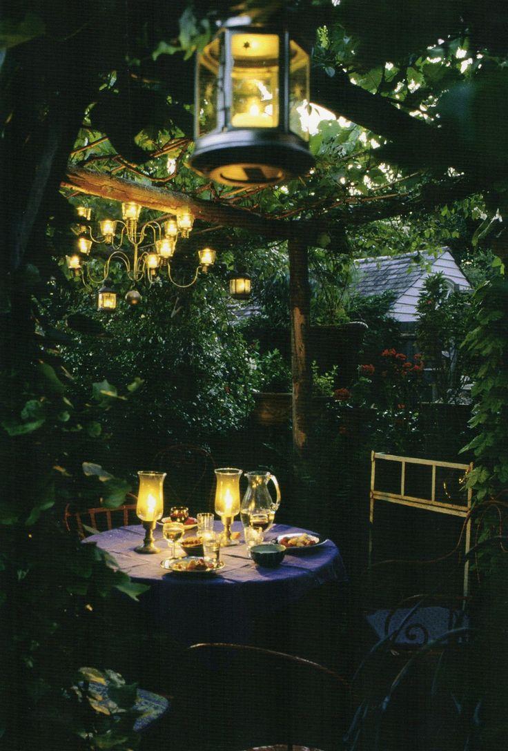 Освещение сада-обеденная зона