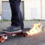 9998 Skateboard, leaving a trail of fire