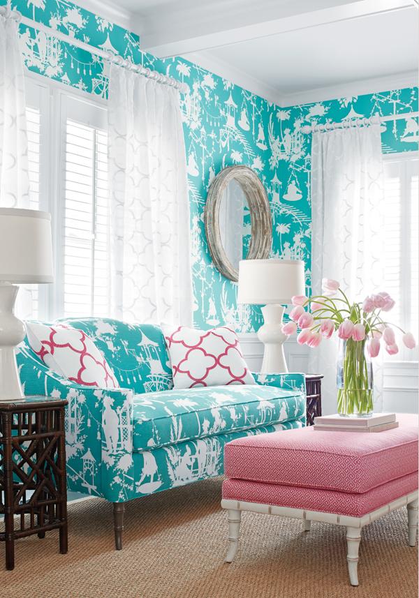 Голубая гостиная-декор