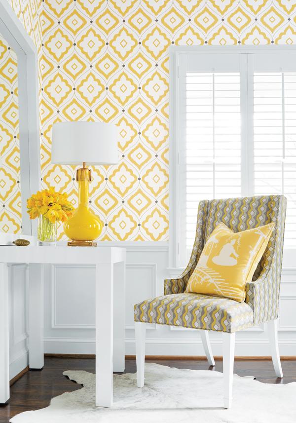 Гостиная с акцентным желтым-фото