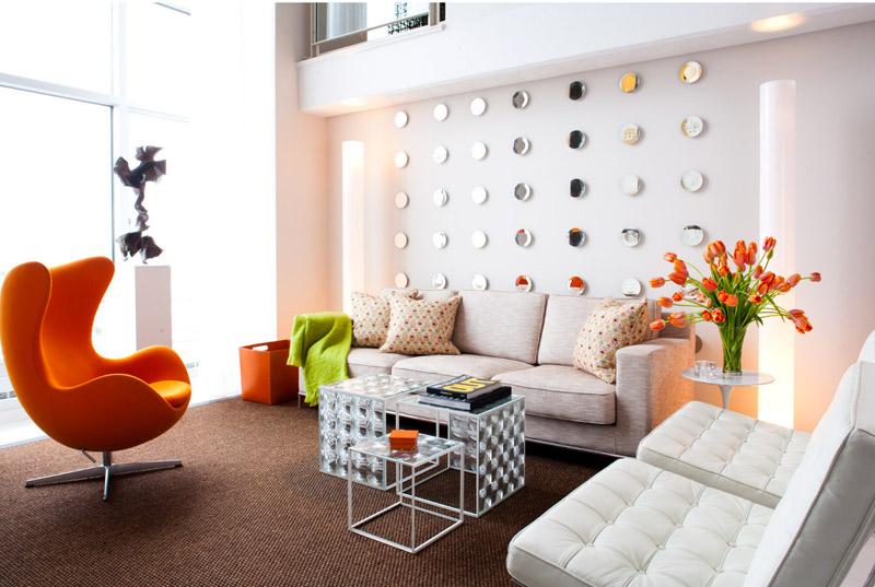 Гостиная с акцентным оранжевым-фото