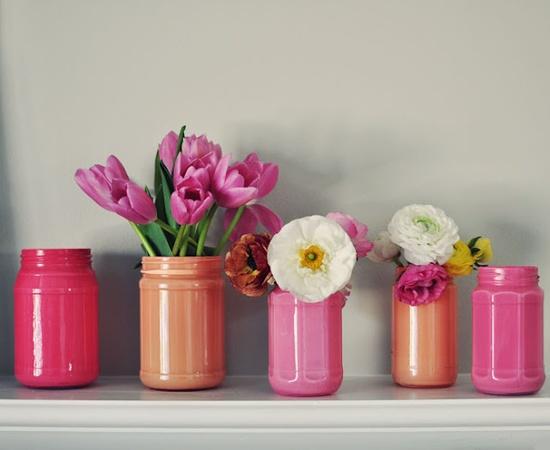 Окрашенные вазы для цветов-фото