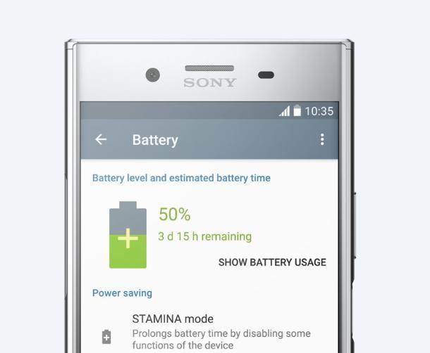 Sony Xperia XZ Premium-режим STAMINA