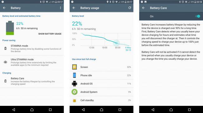 Sony Xperia XZ Premium-автономная работа скриншоты