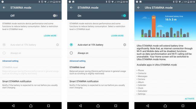 Sony Xperia XZ Premium-энергосберегающий режим STAMINA