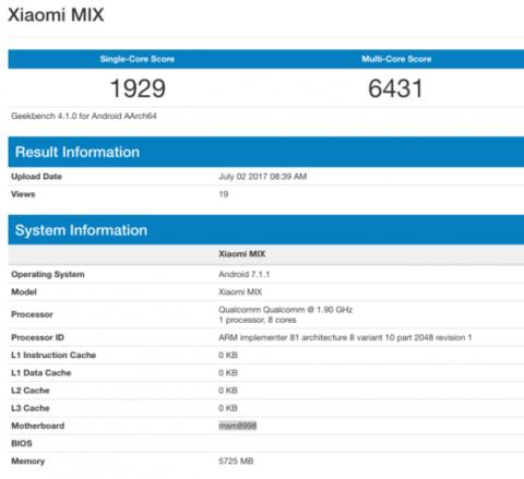 Characteristics Xiaomi Mi Mix 2 confirmed benchmark
