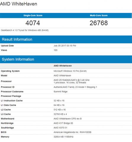 Shestnadtsatiyaderny AMD Ryzen Threadripper 1950X compared with decategory Intel Core i9-7900X