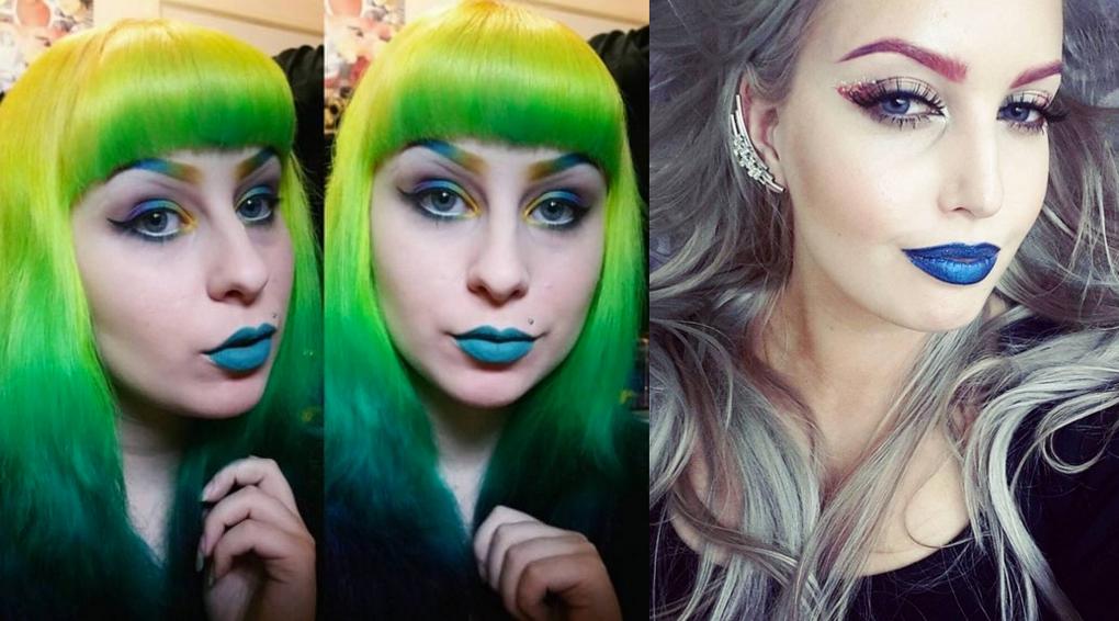 Разноцветные брови-экстравагатный макияж