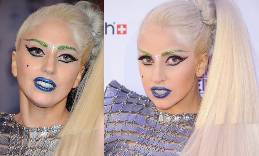 Леди Гага-цветные брови