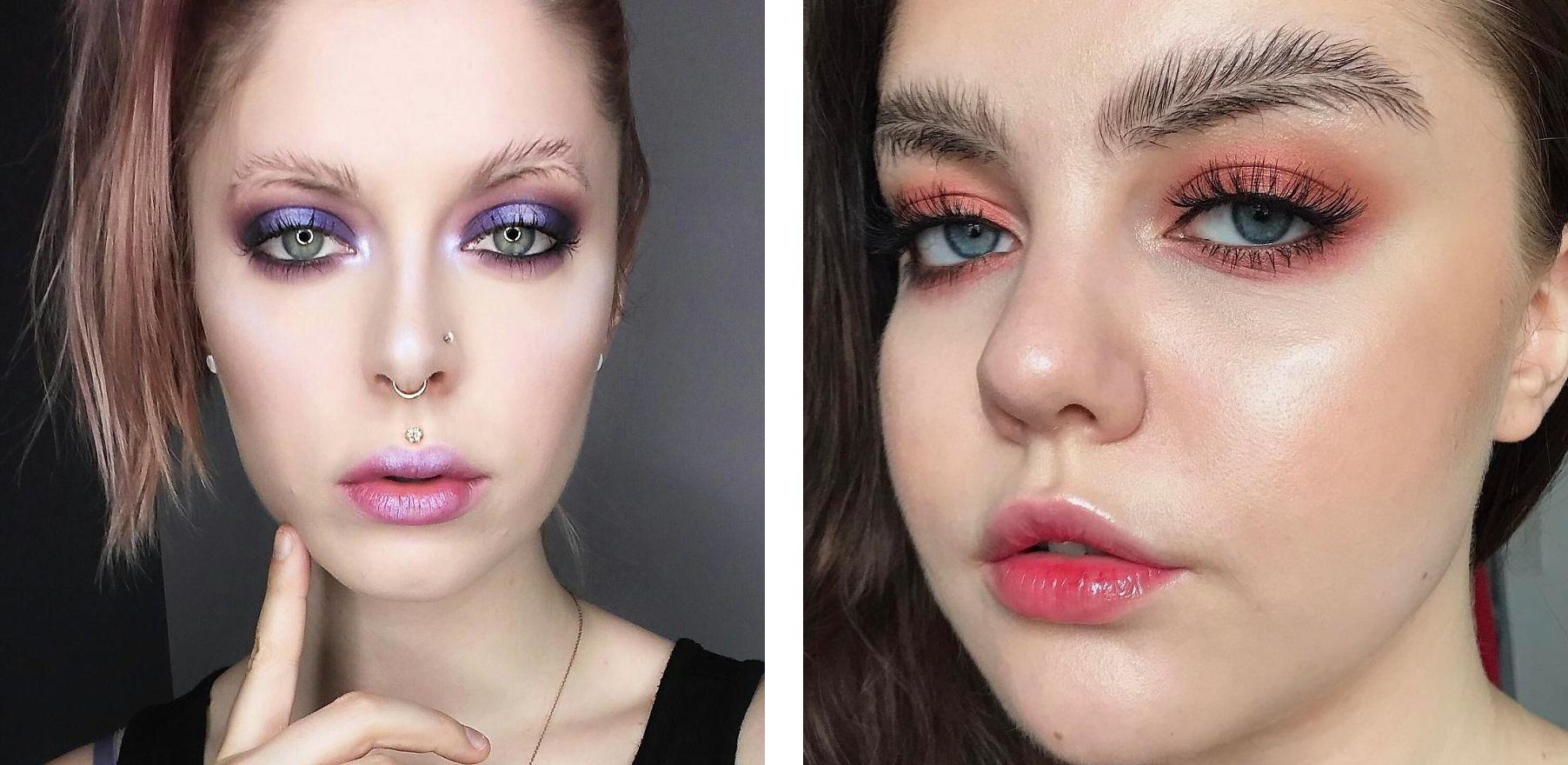 Тренды Instagram-брови с разделительной полосой вариант 2