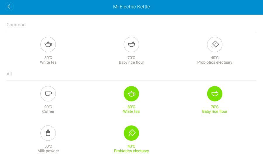 Обзор умного чайника Xiaomi Mijia Kettle – Предустановленные режимы нагрева