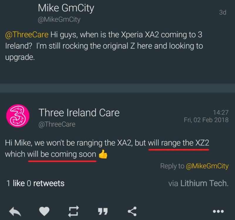 Sony Xperia XZ2 Phones Coming Soon, Irish Carrier Confirms