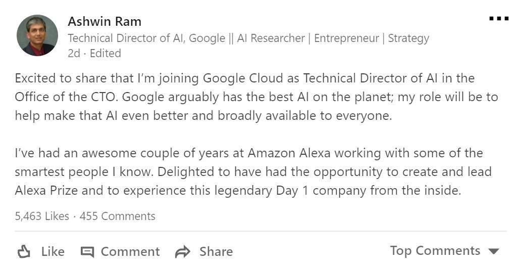 Top Amazon Alexa AI Expert Poached By Google Cloud