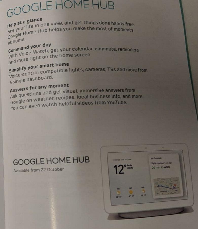 Leak Shows Google Home Hub UK Availability Starting On October 22
